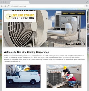 cooling and heating business website example